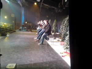 Watching rehearsals from the wings.