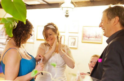 Bride applauding magic