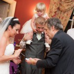 Bride and groom amazed by trick