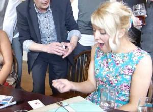 Wedding guest amazed by magic