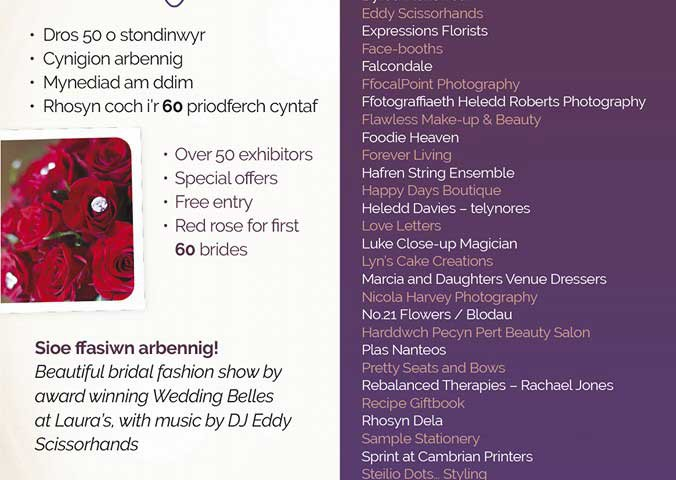 Poster for wedding fair in Aberystwyth