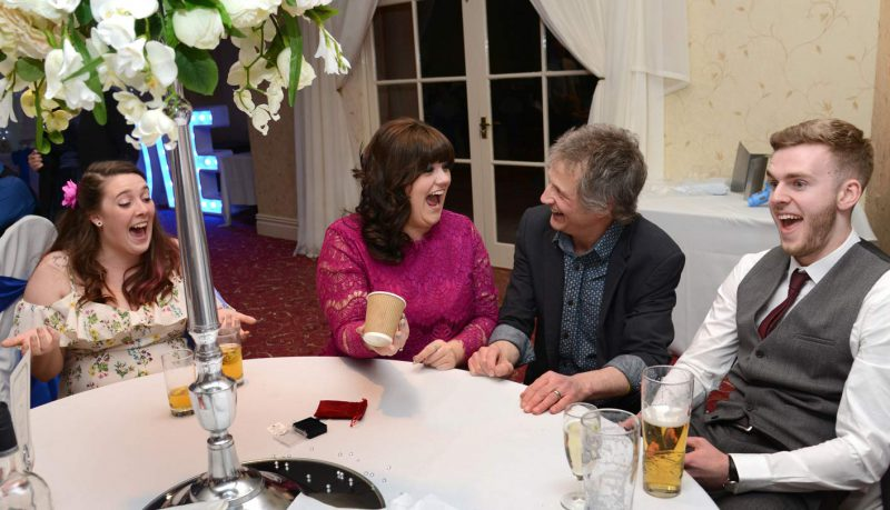Wedding guests astonished by magician at The Manor Park Hotel